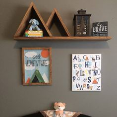 Large Two Peak Mountain Shelf | Nursery Shelf | Floating Shelf by CleverMothCreations on Etsy https://www.etsy.com/listing/491393538/large-two-peak-mountain-shelf-nursery