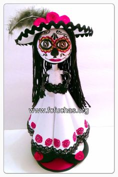 Catrina Fofucha Doll. Perfect doll great decoration for Dia de Los muertos. Doll is handmade using foam sheets. She stands at 13 inches doll. Can be remade in any color you want and personalized. To order visit fofuchas.org or like us on facebook.com/fofuchashandmadedolls  #fofuchas #DiaDeLosMuertos #Halloween
