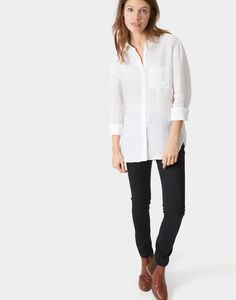 Jeanne Bright White Linen Longline Shirt  | Joules UK