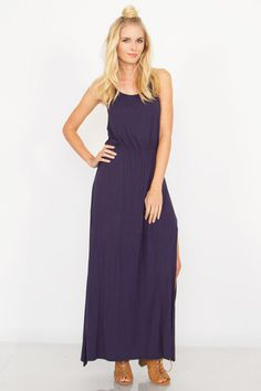 Women's NAVY BABY DRESS by Sugarlips – BKLN We are all about some long maxi dresses, especially in the Spring and Summer when it's nice and warm outside! This Navy Baby Dress by Sugarlips is the most PERFECT comfy jersey knit maxi dress. Features simple but gorgeous knot detail on the back, side slit, and stretch band at the waist. Pair this beautiful navy blue maxi with wedges or flat sandals and neon hot pink, coral, or even gold accessories. Fashion & Comfort in one!