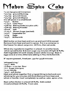 Mabon Spice Cake word of another source. MY Opalraines Production.