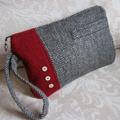 Upcycled Wool Wristlet, Eco Friendly Menswear Look Zip Pouch