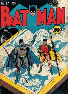 The Golden Age of DC Comics: Batman No. Cover art, Fred Ray and Jerry Robins… The Golden Age of DC Comics: Batman No. Cover art, Fred Ray and Jerry Robinson, April–May TM & © DC Comics. All rights reserved. Robin Comics, Batman Y Robin, I Am Batman, Superman, Batman 1966, Batman Art, Batman Comic Books, Batman Comics, Comic Books Art
