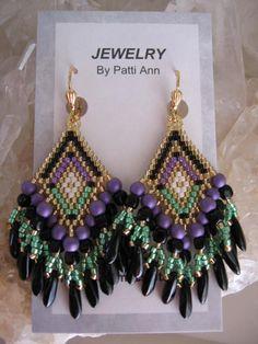 Seed Bead Beadwoven Earrings  Purple/Green/Black by pattimacs, $25.00