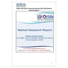 The ''Global and Chinese Jasmonate Industry, 2011-2021 Market Research Report'' is a professional and in-depth study on the current state of the global Jasmonate industry with a focus on the Chinese market.  Browse the full report @ http://www.orbisresearch.com/reports/index/global-and-chinese-jasmonate-industry-2011-2021-market-research-report .  Request a sample for this report @ http://www.orbisresearch.com/contacts/request-sample/97993 .