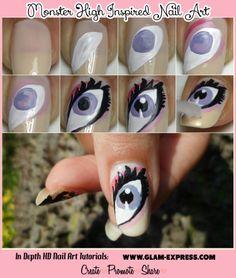 #MonsterHigh #NailArt #Draculaura #Tutorial @madjennsy Nail Art Nail Art Nail Art <3 Join the online #beauty community: http://www.glam-express.com/