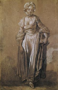 Jean Baptiste Greuze - Standing Young Girl, study for ''The Village Agreement'' (charcoal & white chalk on paper)