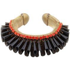 Sveva Women Audace Bracelet (1.285 BRL) ❤ liked on Polyvore featuring jewelry, bracelets, black and swarovski crystal jewelry
