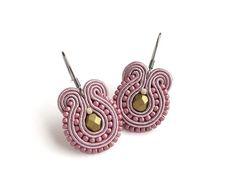 Rosa und Gold Ohrringe leichte Ohrringe Ohrringe Rosa Soutache Ohrring chirurgischen Stahl Ohrring für empfindliche Ohren