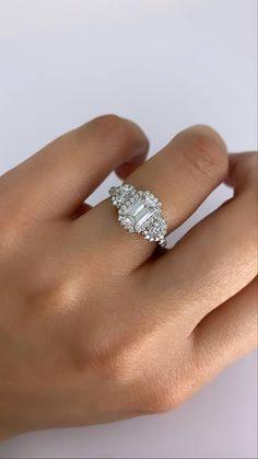 Emerald Cut Engagement, Engagement Sets, Three Stone Engagement Rings, Designer Engagement Rings, Engagement Ring Settings, Emerald Cut Diamonds, Round Diamonds, Diamond Cuts, Three Stone Diamond Ring