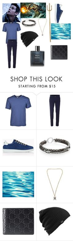 """""""Peter, Son of Poseidon"""" by pizzaqueen188 ❤ liked on Polyvore featuring Comme des Garçons, Trussardi, Dsquared2, StingHD, Zolotas, Gucci, Burton, Chanel, men's fashion and menswear"""