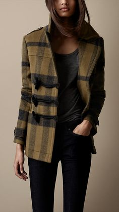 Pea coat check in lana | Burberry