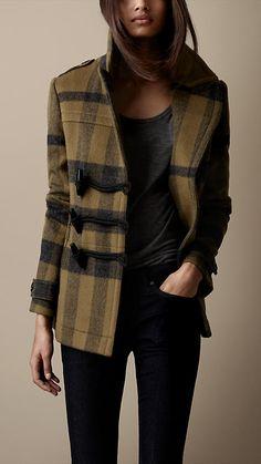 Burberry Check Wool Pea Coat.