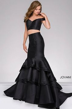 Black Two-Piece Off the Shoulder Mermaid Prom Dress 46866 #SS17 #prom2017 available @LavishBoutique http://www.wvlavishboutique.com