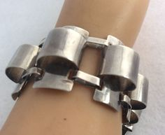 VTG BOLD CHUNKY MODERNIST MEXICO MEXICAN STERLING SILVER BRACELET #Taxco