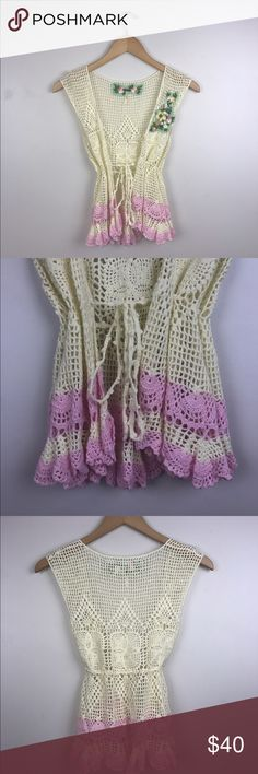 Dainty and Eclectic Crochet Vest from Free People Seriously gorgeous. Great for everyday wear. Great condition. No Try ons, sorry:) No trades! Free People Tops Tank Tops