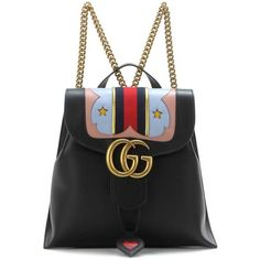 GG Marmont Heart leather backpack ❤ liked on Polyvore featuring bags, backpacks, backpack, backpack bags, retro backpacks, leather backpack bag, monogrammed bags and rucksack bags