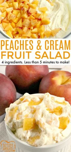Peaches and Cream Salad comes together in just a few minutes with only 4 ingredients! It's the perfect recipe for using up all of those delicious fresh peaches and can be served as a side dish or even dessert! Desserts PEACHES AND CREAM SALAD Fluff Desserts, Köstliche Desserts, Delicious Desserts, Dessert Recipes, Yummy Food, Fresh Fruit Desserts, Shot Recipes, Plated Desserts, Tasty