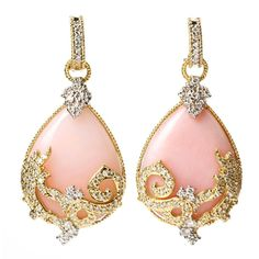 Stambolian Pink Opal Diamond Gold Drop Earrings | From a unique collection of vintage clip-on earrings at https://www.1stdibs.com/jewelry/earrings/clip-on-earrings/