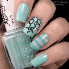 Nail Art by Belegwen: Essie Blossom Dandy, Essence Sunny London and Grab This Hype