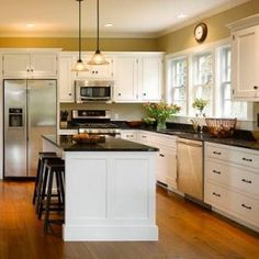 L Shaped Kitchen Layout Ideas l-shaped #kitchen layout with an #arched overhang on the #island