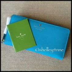 """NEW kate spade    Mikas Pond Lacey Wallet NEW   color """"neon turquoise""""   cross-hatched embossed leather with matching trim   14k light gold plated hardware   12 credit card slots + 2 billfolds + zipper change pocket + exterior slide pocket   kate spade Bags Wallets"""