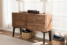 Embrace retro styling to complement your contemporary interior with the handsome tones of the Selena 4-drawer dresser, caramel brown and dark brown two-tone. Constructed of solid Acacia wood and rubberwood frame and legs, the Selena 4-drawer dresser is built for durability with lasting good looks. Four drawers open up revealing ample storage space for clothes, shoes and everyday knick-knacks.
