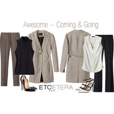 Etcetera | Spring 2016: GLOBAL minimalist jacket, SHARP black sweater, ROMA clay pants, PARCHMENT ivory blouse, ENIGMA black pants. www.etcetera.com.