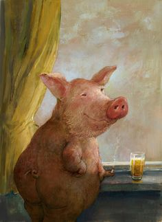 Pig Portrait - by Rudi Hurzlmeier Paintings I Love, Animal Paintings, Pig Pics, Pig Drawing, Pig Illustration, Funny Pigs, Pig Art, Cute Piggies, Spring Painting