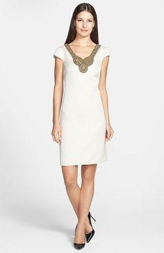 Adrianna Papell Embellished Woven Sheath Dress (Regular & Petite) | Nordstrom