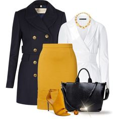* Navy & Mustard *, created by hrfost1210 on Polyvore