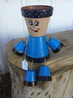 Flower Pot People planter by crazycraftingfriends on Etsy, $25.00