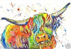 Josie P Print Large A3 of Original Watercolour Painting Highland Cow Scottish | eBay