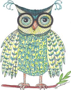 Owl Art Print Of An Original Print Glasses by lynnetteaprilarts, $15.00