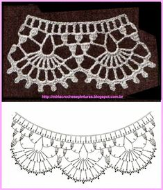 Captivating Crochet a Bodycon Dress Top Ideas. Dazzling Crochet a Bodycon Dress Top Ideas. Crochet Collar Pattern, Crochet Lace Collar, Crochet Lace Edging, Crochet Motifs, Crochet Borders, Crochet Diagram, Crochet Chart, Crochet Stitches, Jewelry Making