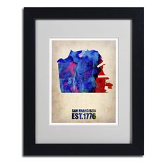 Naxart 'San Francisco Watercolor Map' Framed Matted Art