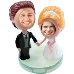 Bride and Groom Bobble Head Wedding Cake Topper,Price: $17.50