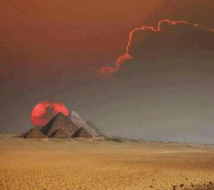 Pyramids of Egypt at sunset