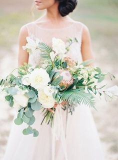 Lush Bouquet with Protea | Soft and Romantic Outdoor Wedding Ideas by Allison Kuhn Photography