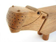 Danish Modern Kay Bojesen Wooden Oak Hippo Toy by WestCoastModern Wooden Animal Toys, Wood Animal, Wood Toys, Danish Modern, Designer Toys, Made Of Wood, Danish Design, Wood Design, Wood Carving