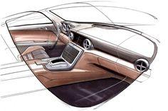 Mercedes-Benz SLK Interior Design Sketch.