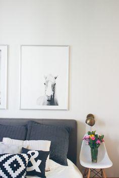 west elm bedroom decor, pendant lamps, horse print