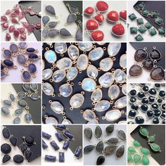 Bezel Connectors in different shapes and stones - Ruby, Tanzanite, Corundum, Iolite, Kyanite, Onyx, Lapis Lazuli, Labradorite, Coral, Chrysoprase, Tourmaline, Smoky Quartz, Rainbow Moonstone and many more.. Only on Gemsforjewels- Flat 50% off STOREWIDE!