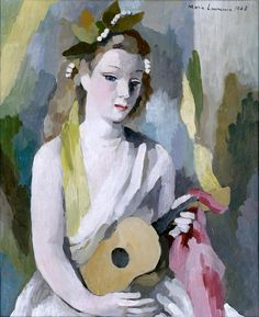 Marie Laurencin, Woman with a Guitar, 1943  From the Cummer Museum of Art:    Poet and painter Marie Laurencin was closely associated with the Parisian avant-garde movement.Woman with a Guitardemonstrates Laurencin's schematic treatment of human anatomy. These stylistic elements were partly based on her knowledge of the art of Africa, including tribal masks. The sitter's porcelain skin, demure mouth, and widely set almond eyes are particularly striking and the flat planes of paste
