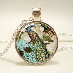 Peacock Necklace Victorian Style Peacock Jewelry Glass by rainnua, $14.45
