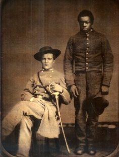 While quite a few African-Americans served in combat roles during the Civil War, the vast majority were relegated to mundane tasks such as  teamsters, cooks and servants. This 17year old Confederate Officer is attended by his man-servant who is not much older. He is reputed to have saved his master's life shortly before this image was taken.