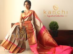 Kanchipuram saree by kanchi signature collection  To place an order-  WhatsApp us at : 09880859041 Email - kanchi.signature@gmail.com  #kanchipuram #kanjeevaram #makeinindia #traditional #saree #indianfashion #southindianbride #kanchisaree #kanchisignaturecollection #elegant #wedding #timeless #classic #handwoven #textileofindia #purezari #indianweaves #kanchi #grey #greysaree #golden #purezari #onlineshopping #wedding #madeinindia #keralabrides Simple Sarees, Trendy Sarees, Stylish Sarees, Indian Dresses, Indian Outfits, Cotton Saree Blouse Designs, Silk Saree Kanchipuram, Indian Bridal Sarees, Saree Shopping