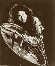 Yakut shaman with a drum, early 1900s. Following a period of instruction, the young shaman received his or her first drum. Rarely were the drum and baton received at the same time. The base of the drum was made of a special wooden hoop and was oval or circular in shape. The hide from a wild reindeer or a moose was pulled over the hoop. The main tool of shamans, the drum enabled the shaman to call spirits by means of sounds.