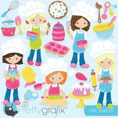 baking girls clipart commercial use vector by Prettygrafikdesign