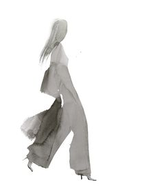 Watercolour fashion illustration; fashion silhouette; fashion drawing // Aurore de la Morinerie